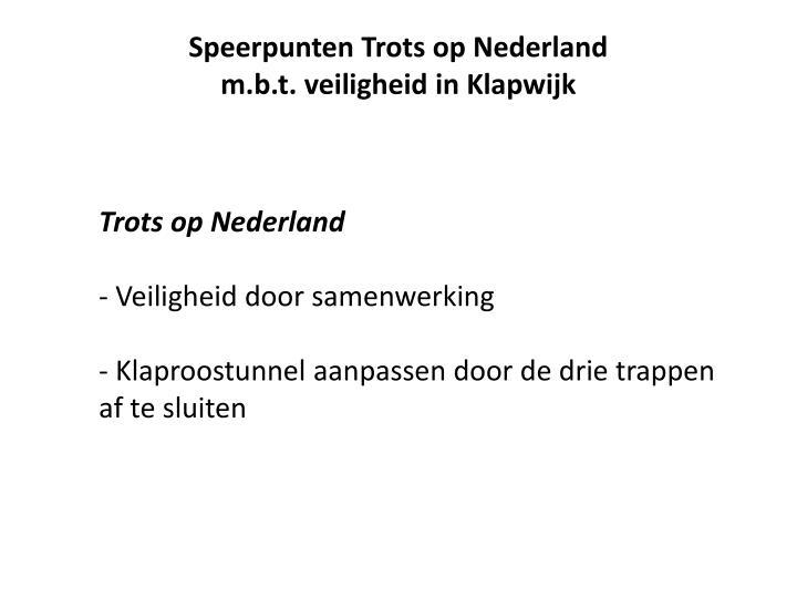 Speerpunten Trots op Nederland