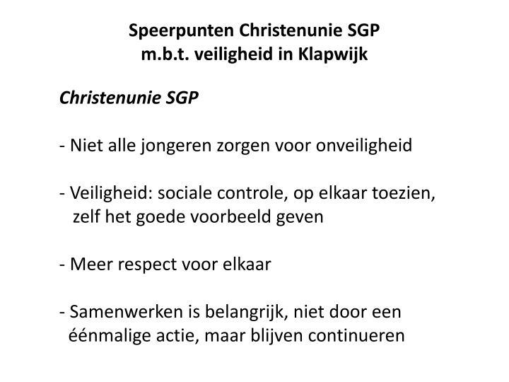 Speerpunten Christenunie SGP