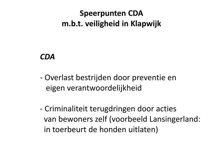 Speerpunten CDA