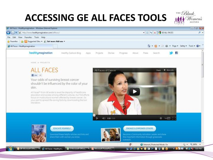 ACCESSING GE ALL FACES TOOLS
