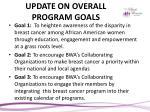 update on overall program goals