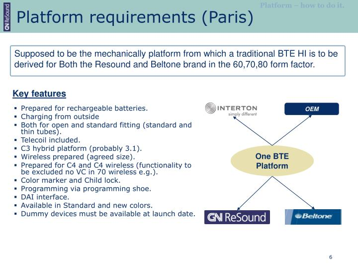 Platform requirements (Paris)