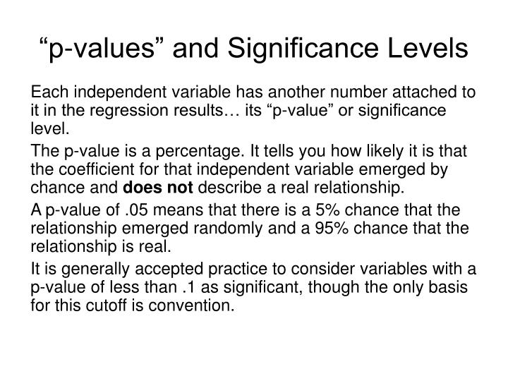 """p-values"" and Significance Levels"
