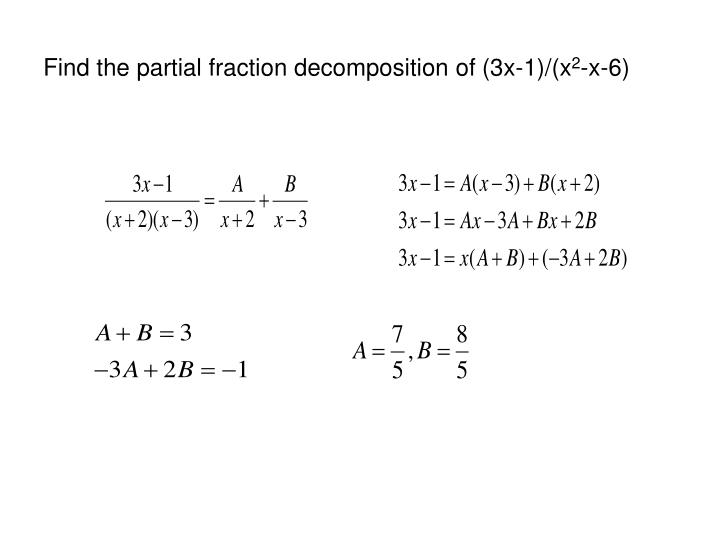 Find the partial fraction decomposition of (3x-1)/(x