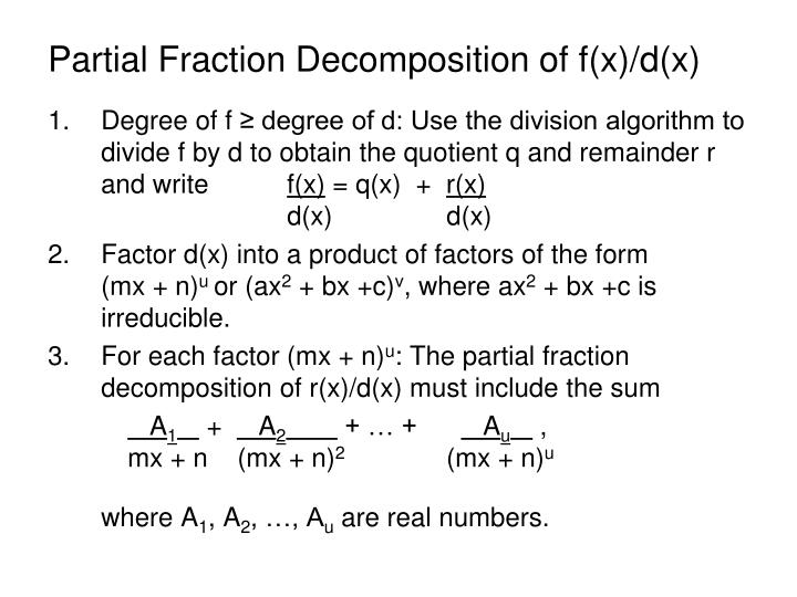 Partial Fraction Decomposition of f(x)/d(x)