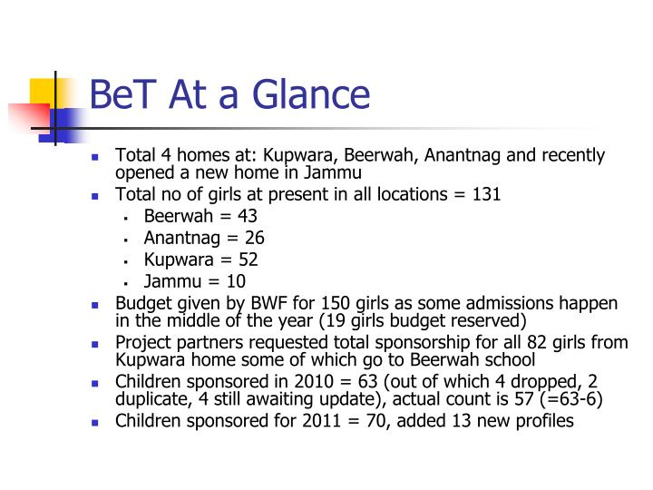 Bet at a glance