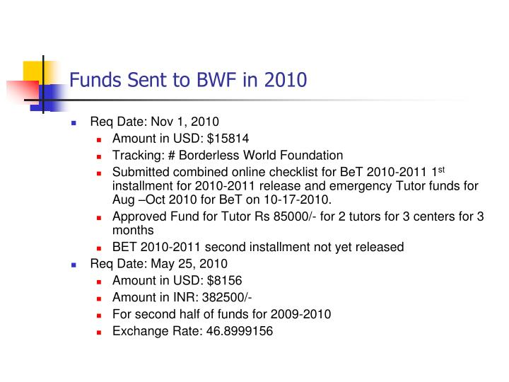 Funds Sent to BWF in 2010