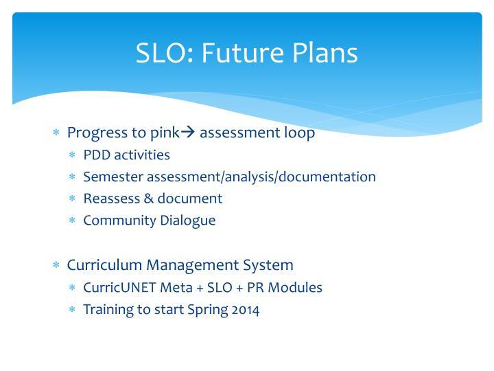SLO: Future Plans