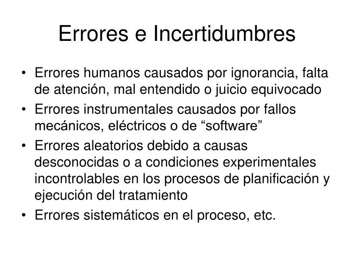 Errores e Incertidumbres