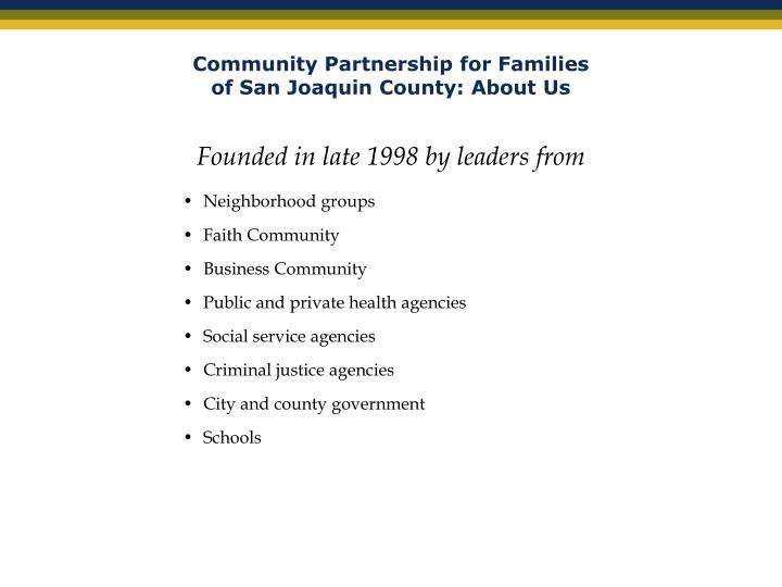 Community partnership for families of san joaquin county about us