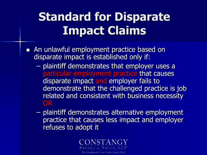 Standard for Disparate Impact Claims
