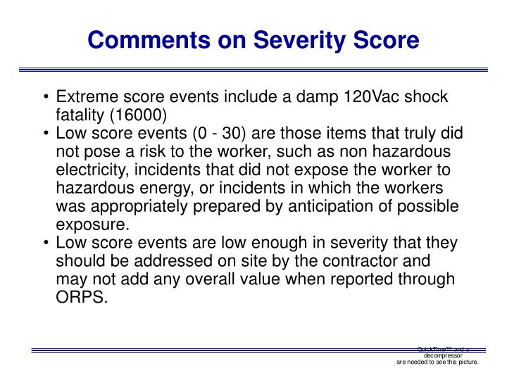 Comments on Severity Score