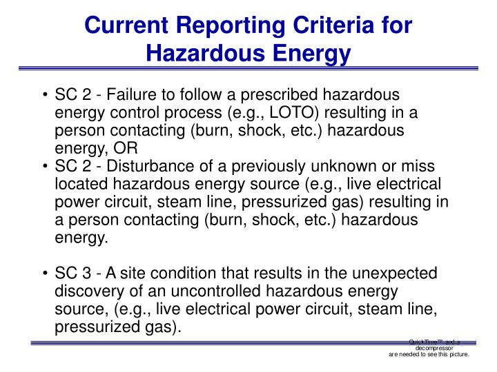 Current Reporting Criteria for Hazardous Energy