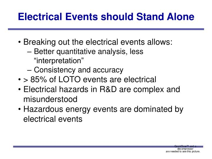 Electrical Events should Stand Alone