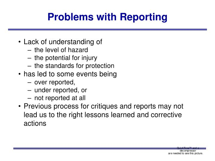 Problems with Reporting