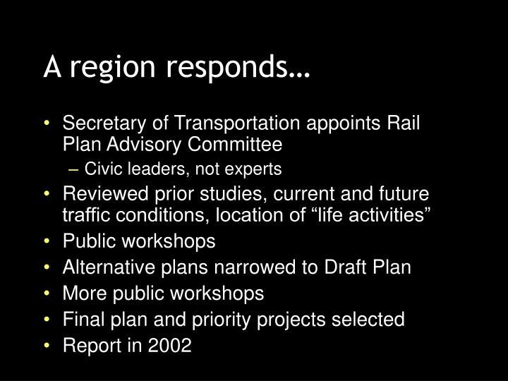 A region responds…