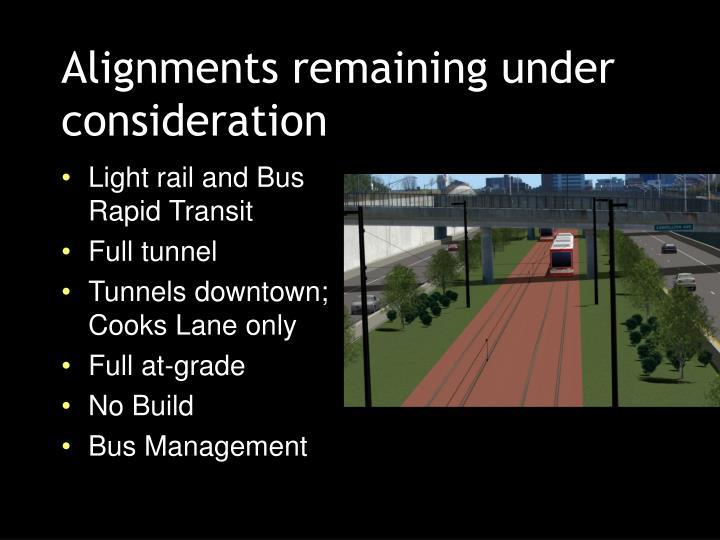 Alignments remaining under consideration