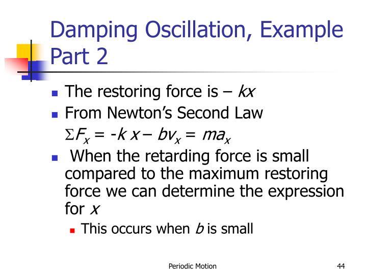 Damping Oscillation, Example Part 2