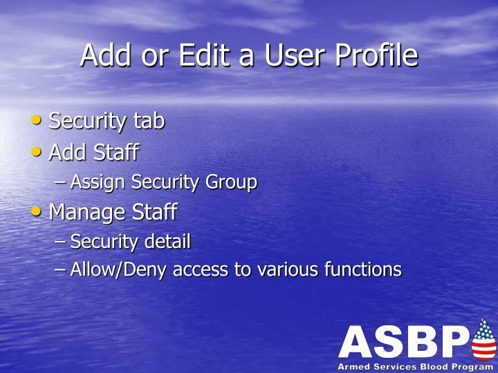 Add or Edit a User Profile