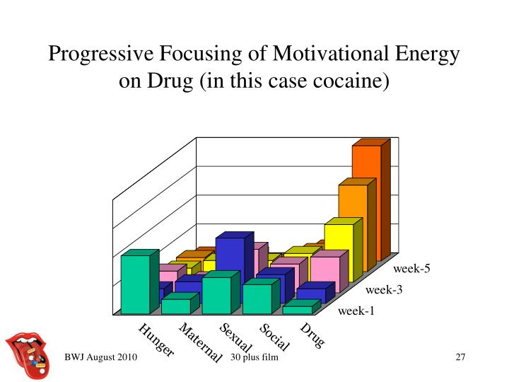 Progressive Focusing of Motivational Energy on Drug (in this case cocaine)
