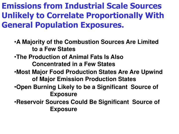 Emissions from Industrial Scale Sources Unlikely to Correlate Proportionally With General Population Exposures.