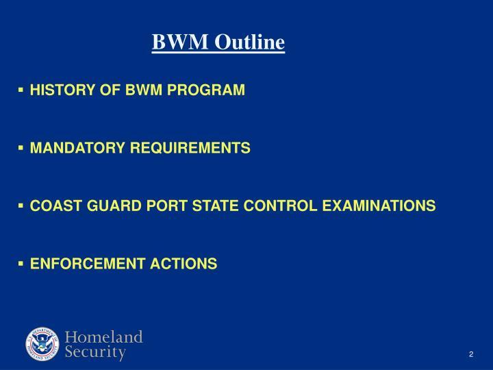 HISTORY OF BWM PROGRAM