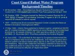coast guard ballast water program background timeline