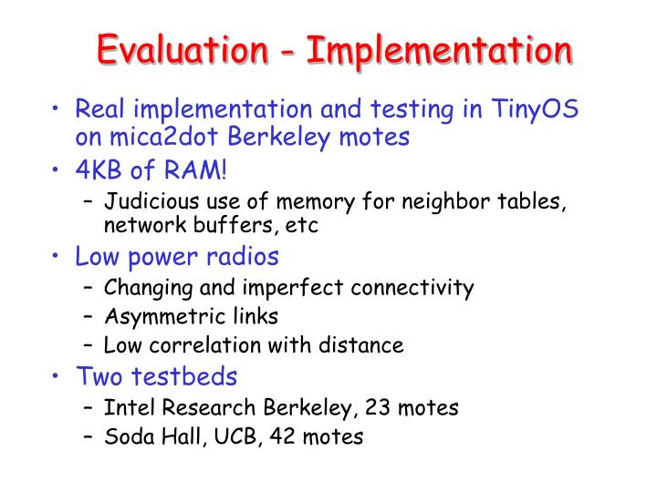 Evaluation - Implementation