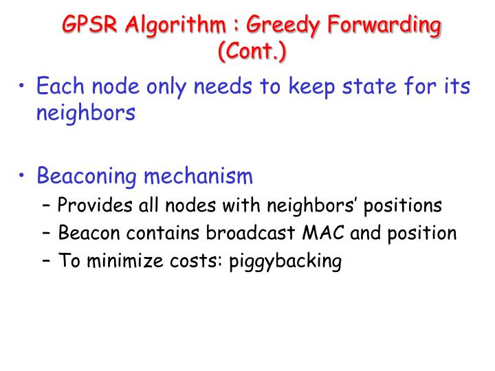 GPSR Algorithm : Greedy Forwarding (Cont.)