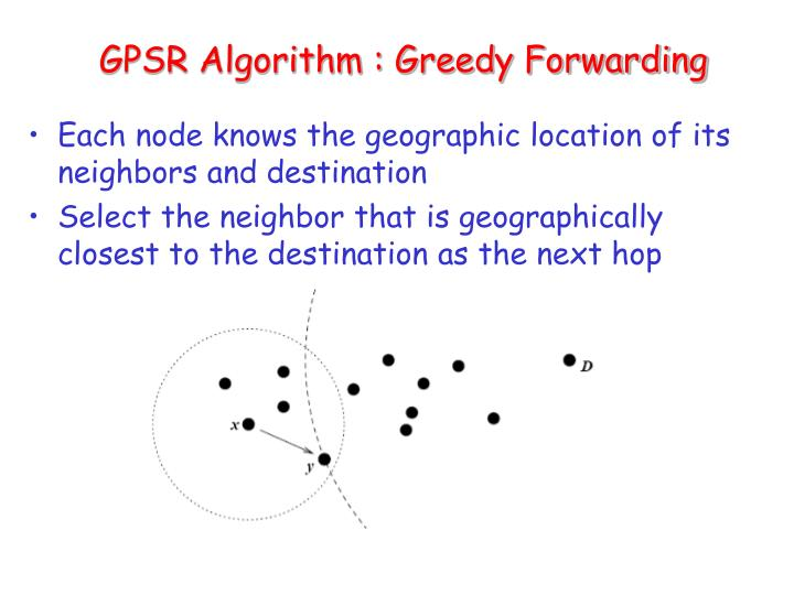 GPSR Algorithm : Greedy Forwarding