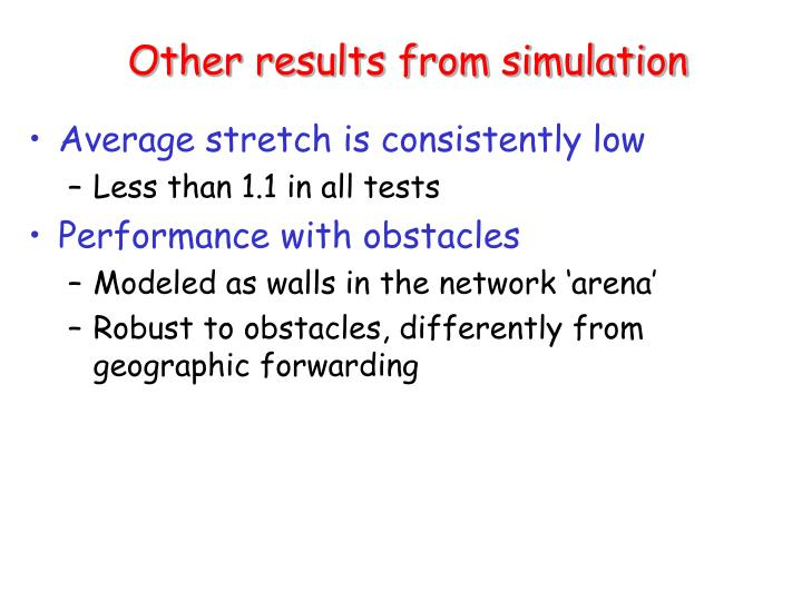 Other results from simulation