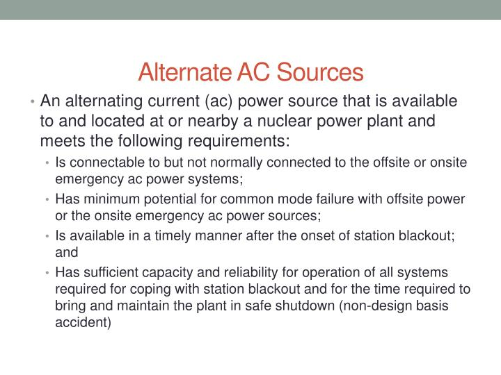 Alternate AC Sources