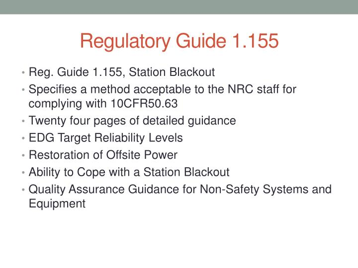Regulatory Guide 1.155