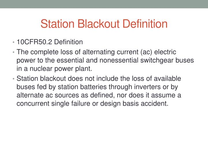 Station Blackout Definition