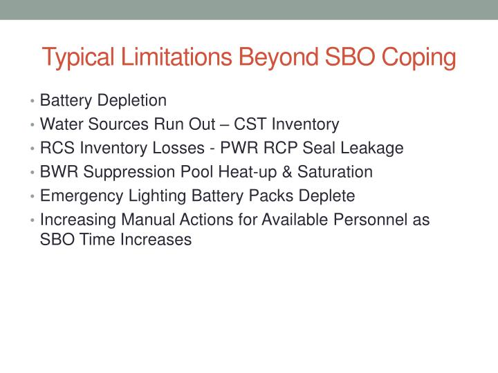Typical Limitations Beyond SBO Coping