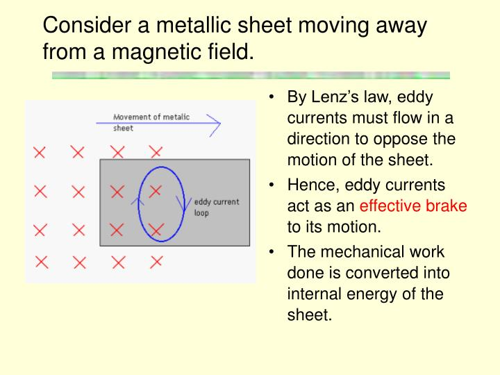 Consider a metallic sheet moving away from a magnetic field.
