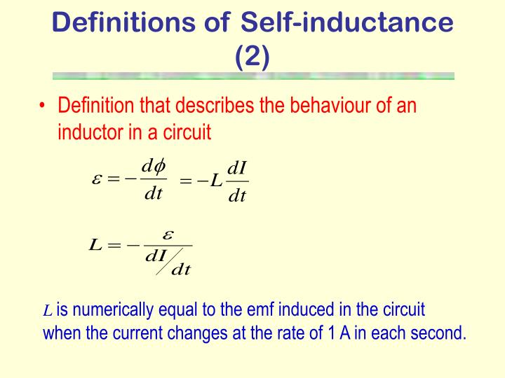 Definitions of Self-inductance (2)