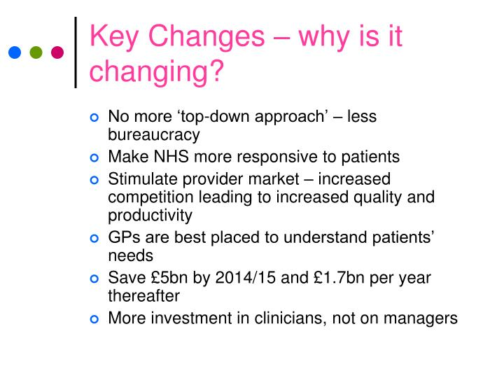 Key Changes – why is it changing?