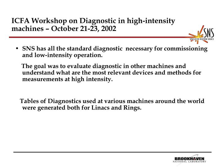 Icfa workshop on diagnostic in high intensity machines october 21 23 2002