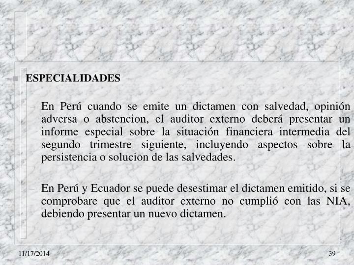 ESPECIALIDADES