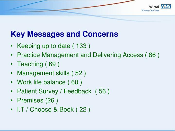 Key Messages and Concerns