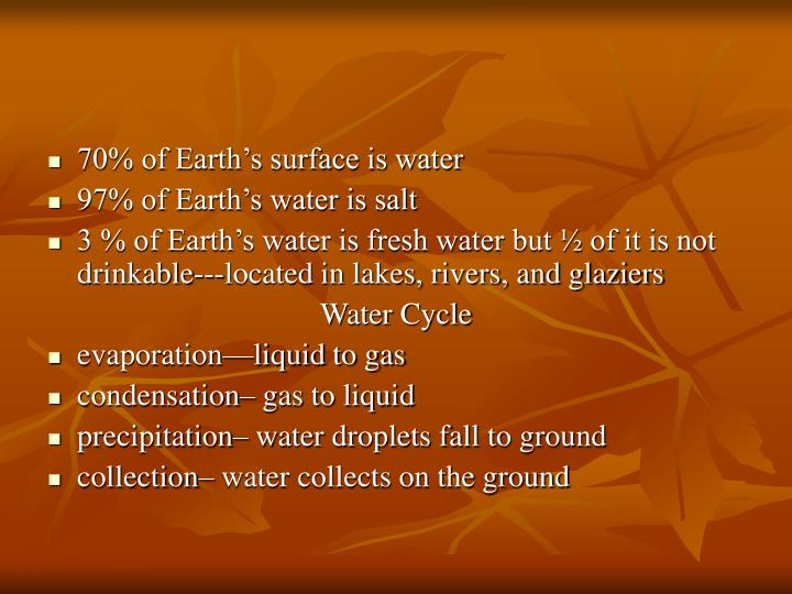 70% of Earth's surface is water
