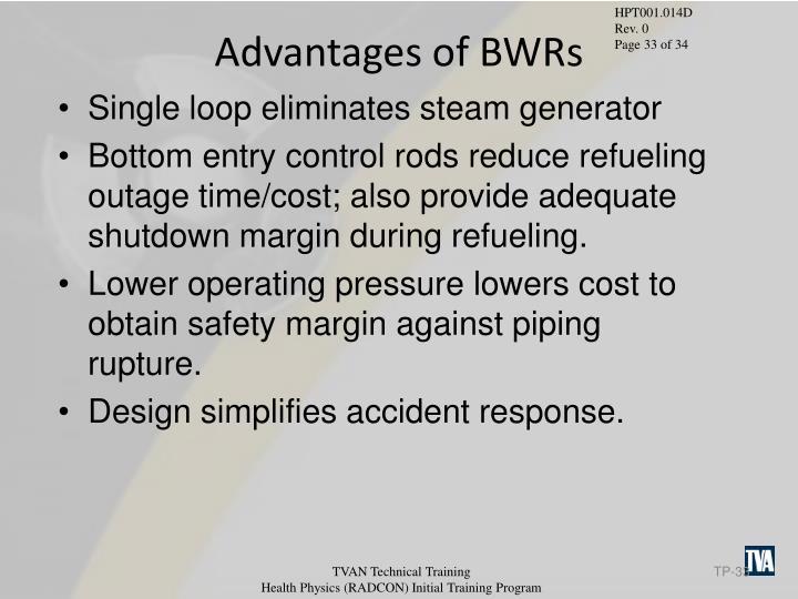 Advantages of BWRs