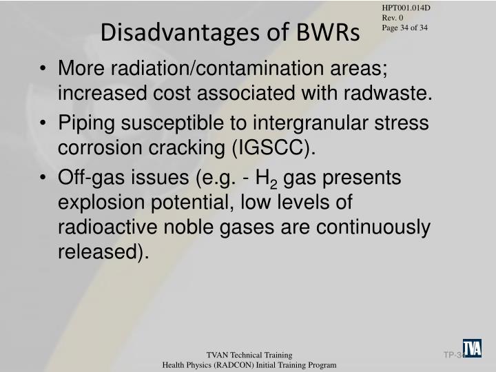 Disadvantages of BWRs