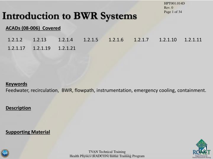 Introduction to BWR Systems