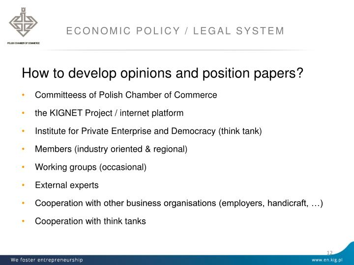 ECONOMIC POLICY / LEGAL SYSTEM