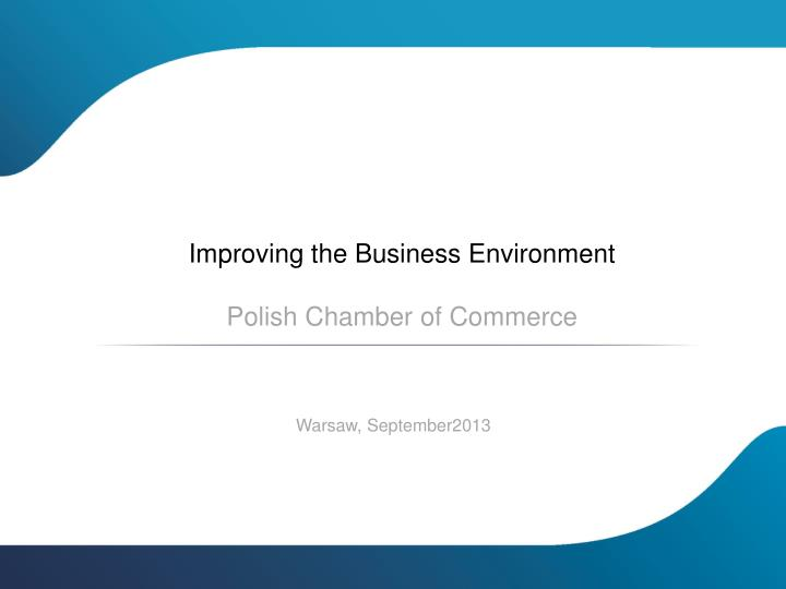 Improving the Business Environment