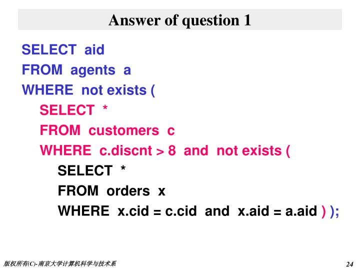Answer of question 1