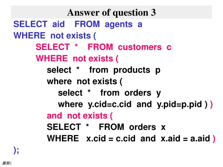 Answer of question 3