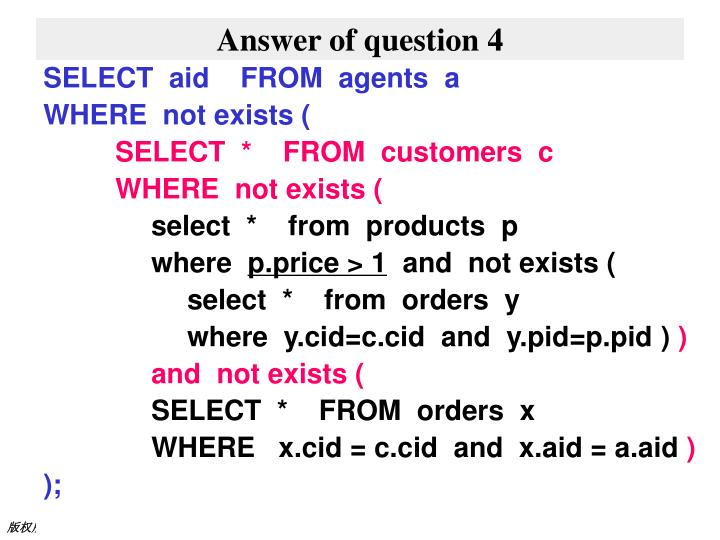 Answer of question 4